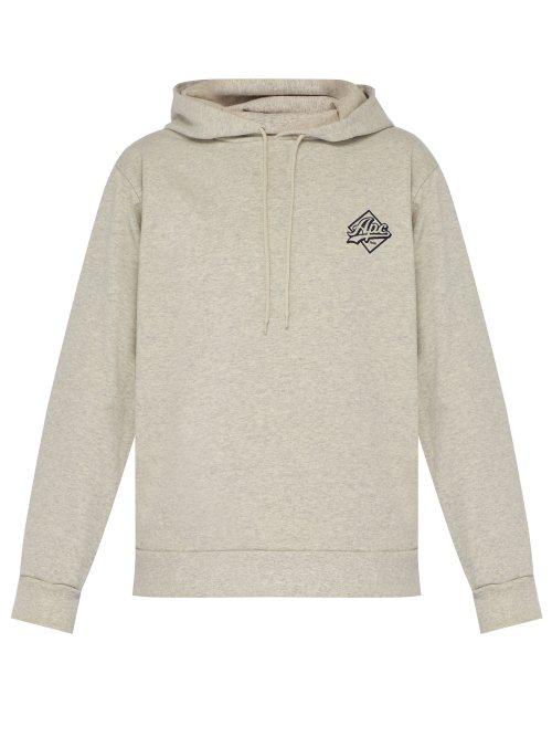 8537a7bf A.P.C. - Aston Logo Print Hooded Cotton Blend Sweatshirt - Mens - Beige