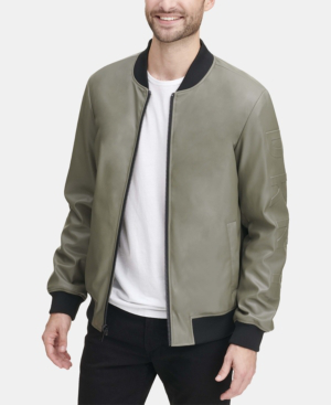 8bf900345 Men's Soft Faux-Leather Bomber Jacket, Created For Macy's in Med Green