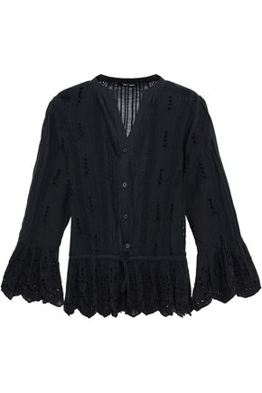 673d7ac46f0 Love Sam Woman Lace-Trimmed Broderie Anglaise Poplin Shirt Black ...
