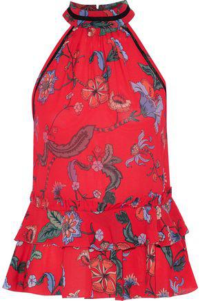1955d83d5ebf Love Sam Woman Crochet-Trimmed Floral-Print Crepe De Chine Peplum Top Red