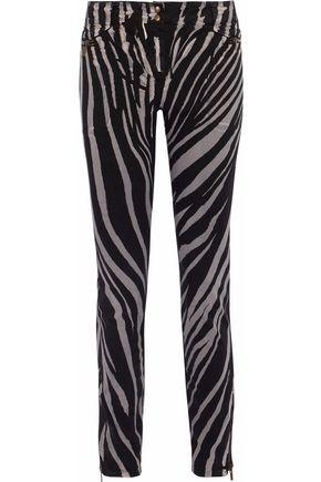 5944ba9129e64 Roberto Cavalli Woman Zebra-Print Mid-Rise Skinny Jeans Black | ModeSens