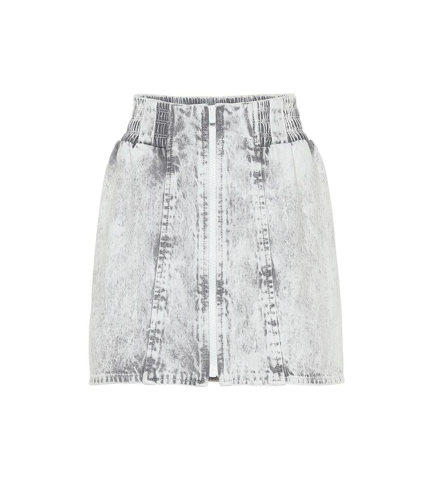 8dcc0b332 Miu Miu Acid Wash Denim Miniskirt In Grey | ModeSens