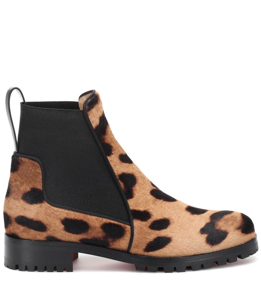 19b429664799 Christian Louboutin Marchacroche Calf Hair Ankle Boots In Leopard ...