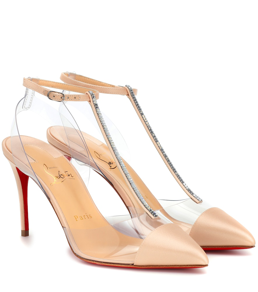 1fceb45dad6c Christian Louboutin Nosy Strass 85 Satin Pumps In Beige