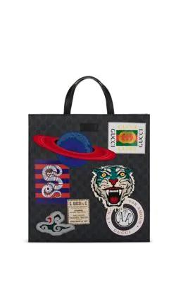 54abfe1fac Gucci AppliquÉD Gg Supreme Canvas Shopper Tote Bag - Black | ModeSens