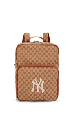 935ad82ffec Gucci Men s Gg Supreme Backpack With Ny Yankees Mlb Applique In Lt ...
