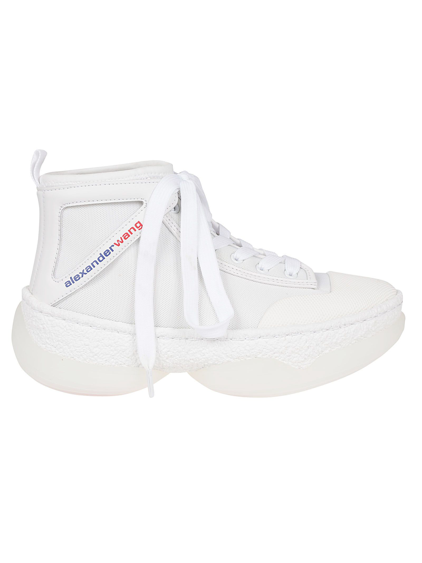 1d1dff153c2c0 Alexander Wang A1 Logo-Print Leather-Trimmed Mesh High-Top Sneakers In 100