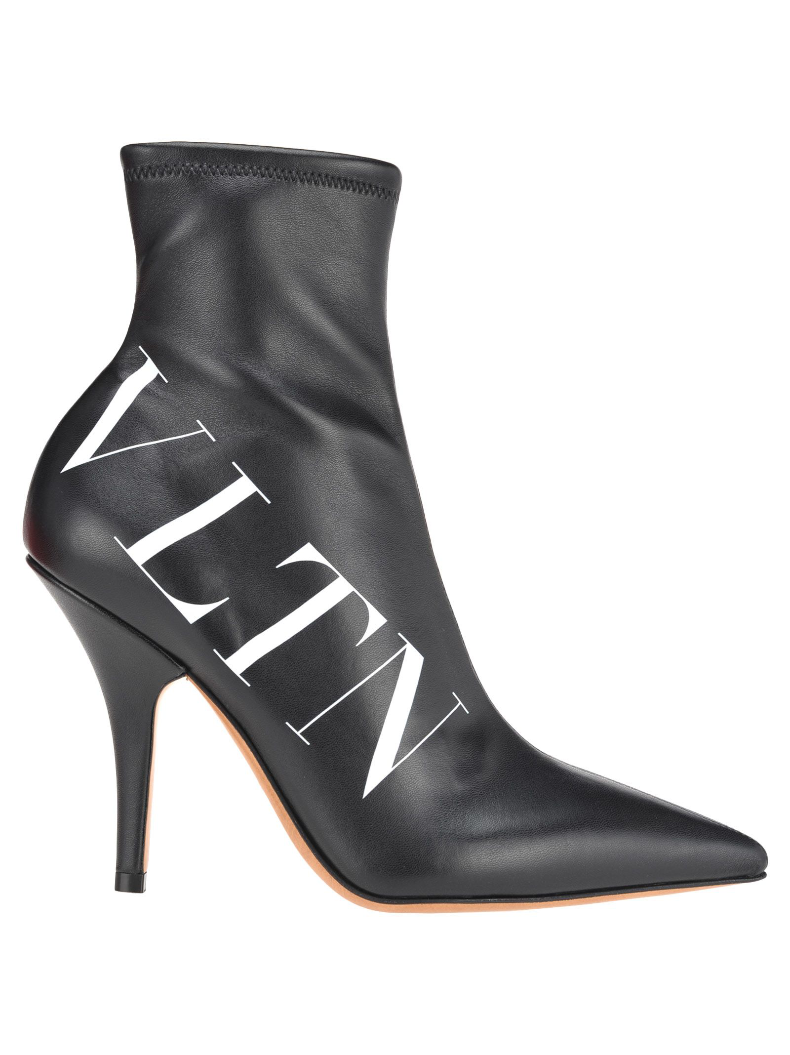 86fee989634 100Mm Vltn Stretch Faux Leather Boots in Black