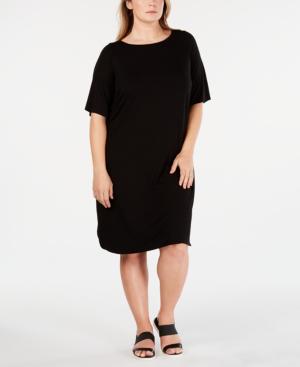 f8990bc13cc Eileen Fisher Plus Size Elbow-Sleeve Shirttail-Hem Jersey Dress In Black