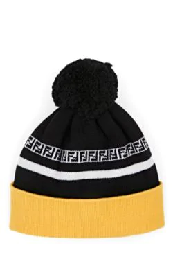 f3d1826f1e0 Fendi Logo-Intarsia Ribbed Virgin Wool Beanie In Yellow