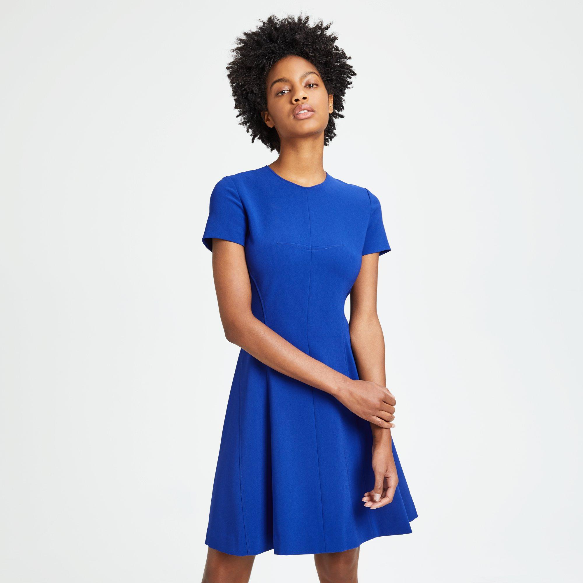 1c79c0c2d294 Theory Crepe Modern Seamed Shift Dress In Cosmic Blue