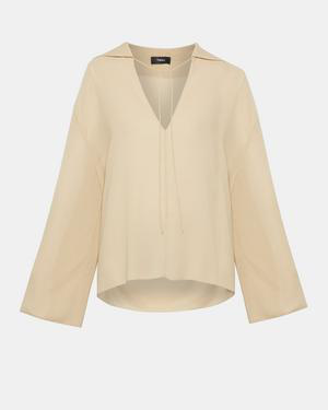 3973bac03cbcc Theory Silk Crepe Sailor Top In Pale Oat