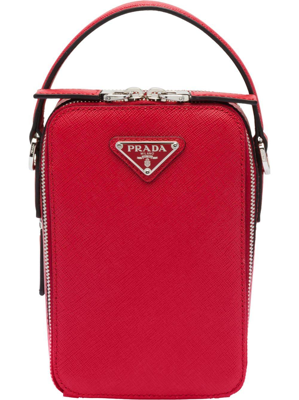 109dff6a1b94 Prada Saffiano Leather Shoulder Bag - Red   ModeSens