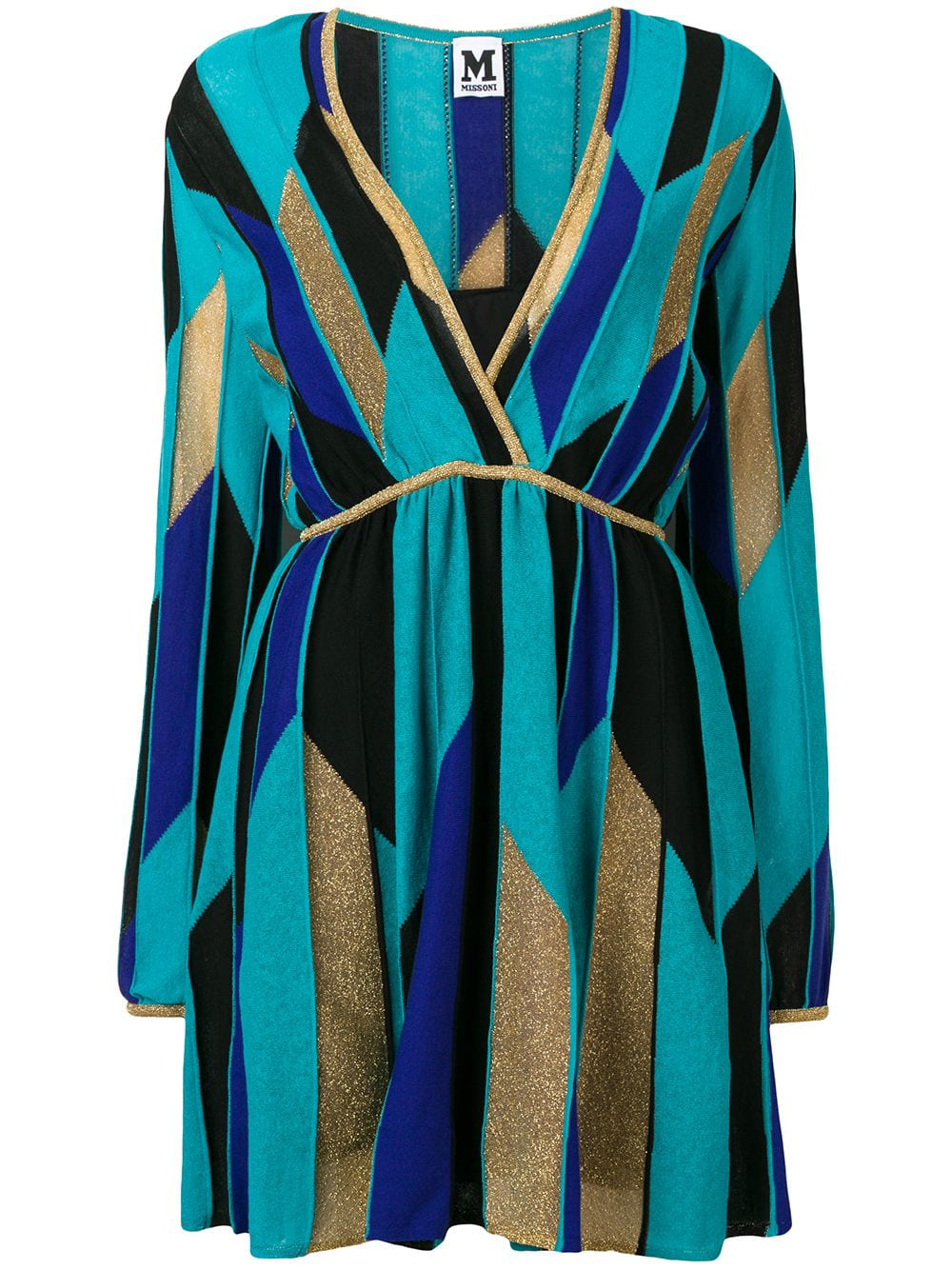 480245d3d8 M Missoni Geometric Intarsia Dress In Blue | ModeSens