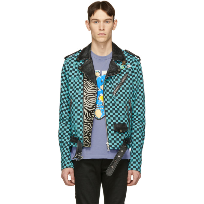 b82528a78 Artist Checkered Denim And Leather Biker Jacket in Blue