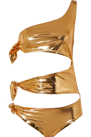 6e0b9714838 Lisa Marie Fernandez Bianca One-Shoulder Cutout Metallic Stretch-Pvc  Swimsuit In Gold