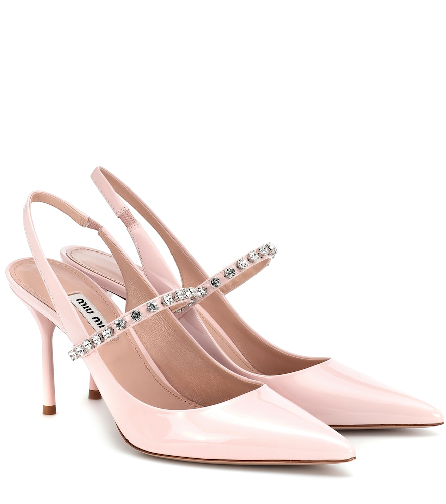 f6bdf97be3e Miu Miu Crystal-Embellished Patent-Leather Slingback Pumps In Baby Pink