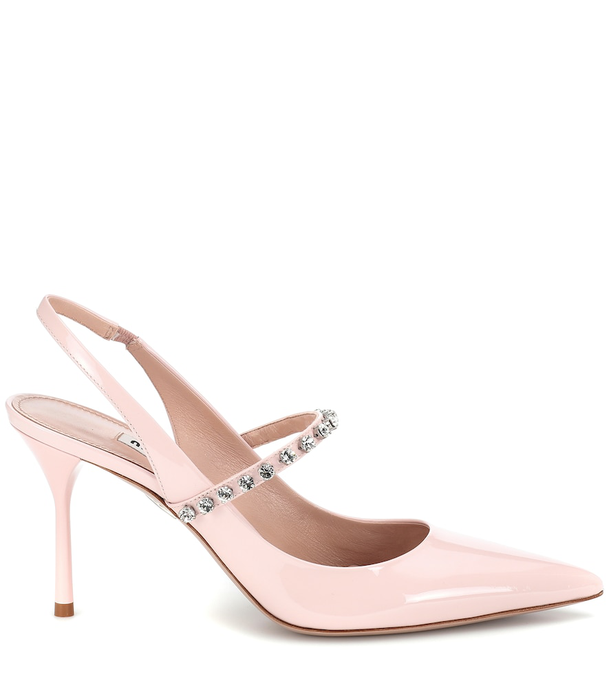 fed775137d4 Miu Miu Crystal-Embellished Patent-Leather Slingback Pumps In Baby Pink