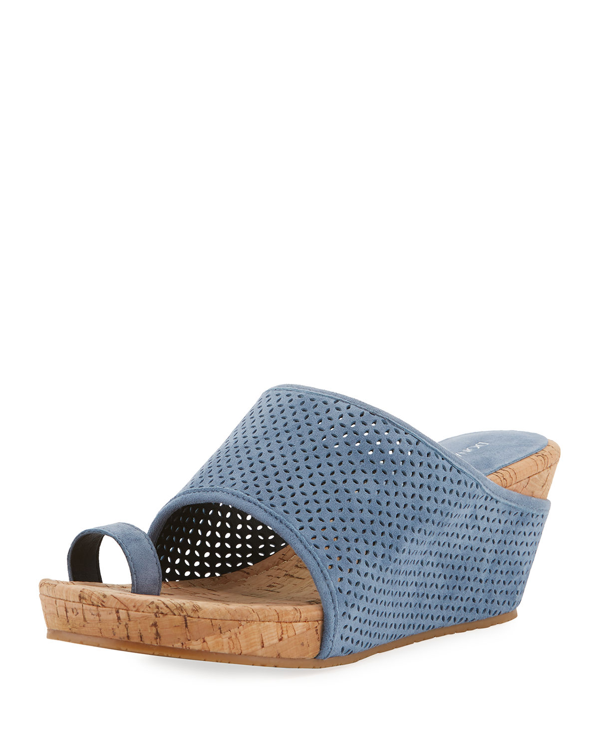 cb069444e8e Gent Perforated Suede Wedge Sandals in Dusk
