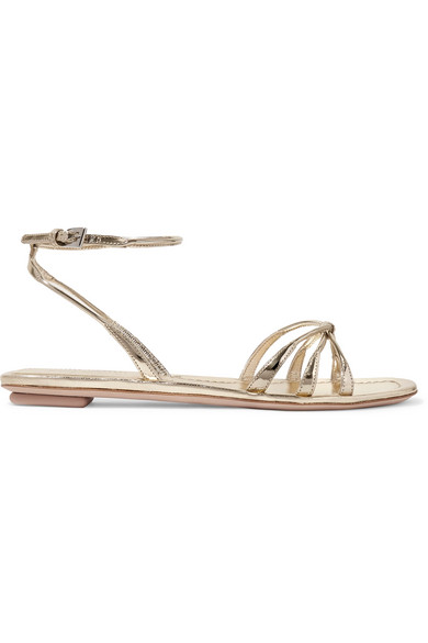 bd71dee0ccb9a Prada Flat Metallic Leather Strappy Sandals In Gold | ModeSens