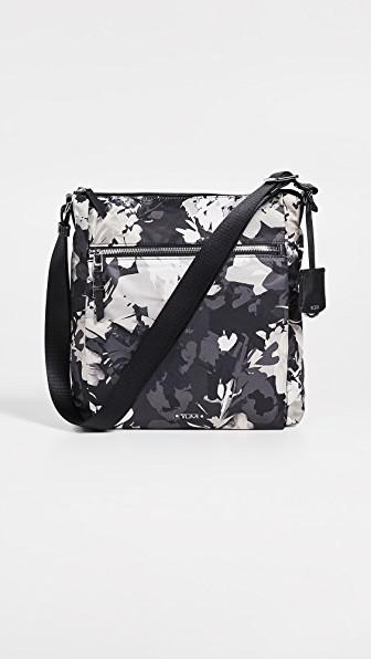 Medium Floral Cotton Shoulder Cross Body Bag Long Adjustable Strap Pocket Zip