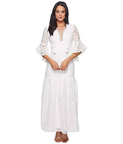 2ab9c18a80 Badgley Mischka Lace-Up Floral-Lace Elbow-Sleeve Maxi Dress In White ...