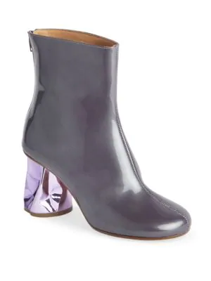 40b1d655a Maison Margiela Patent Leather Crushed Heel Ankle Boots In Purple ...