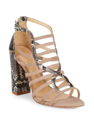 8e318aa55b11 Schutz Kaye Snake-Skin Print Embossed Leather Block Heel Sandals In Neutral