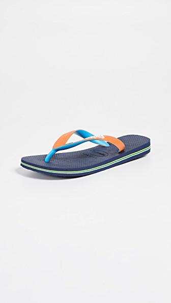 0365a8364 Havaianas Brazil Mix Flip Flops In Navy Blue Neon Orange