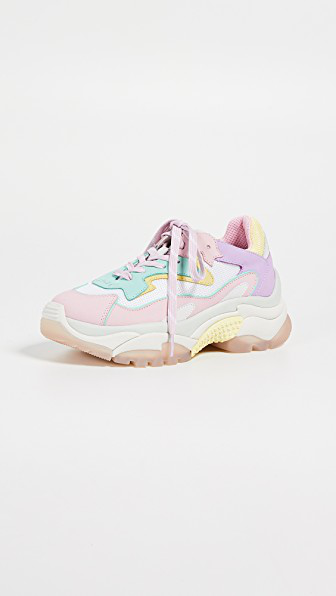 955fbcf15814 ASH Women s Addict Leather Lace Up Sneakers in Baby Rose Mint White Chick. Ash  Women