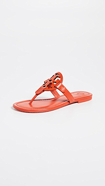 5ba6cbcd64d5 Tory Burch Miller Logo Flat Leather Sandals In Bright Pomander ...