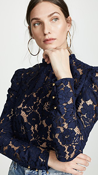 f4f4307e219ded Wayf Emma Puff Sleeve Lace Top In Navy Lace | ModeSens