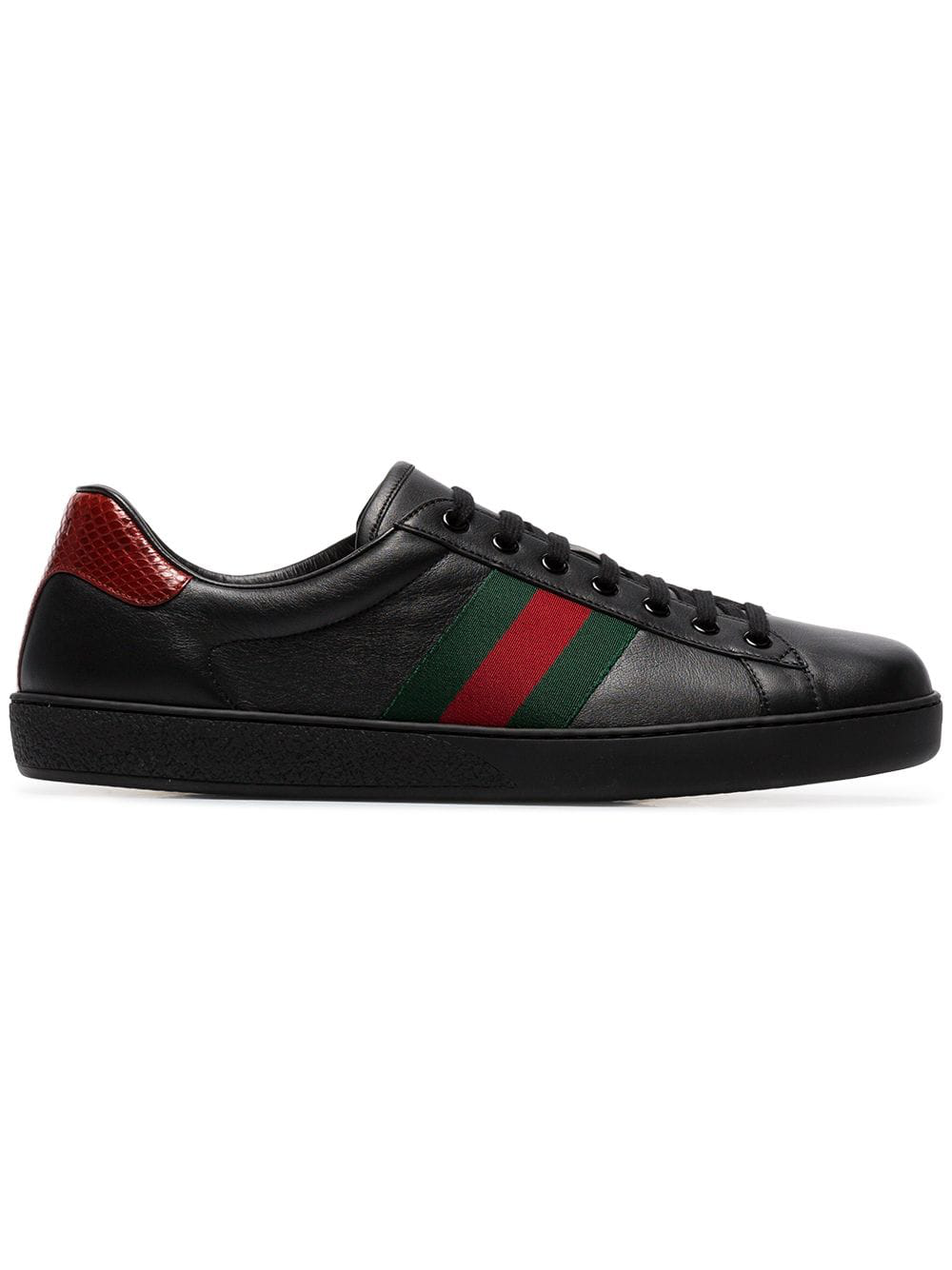 a118f3f3621 Gucci Ace Snake-Trimmed Leather Sneakers - Black