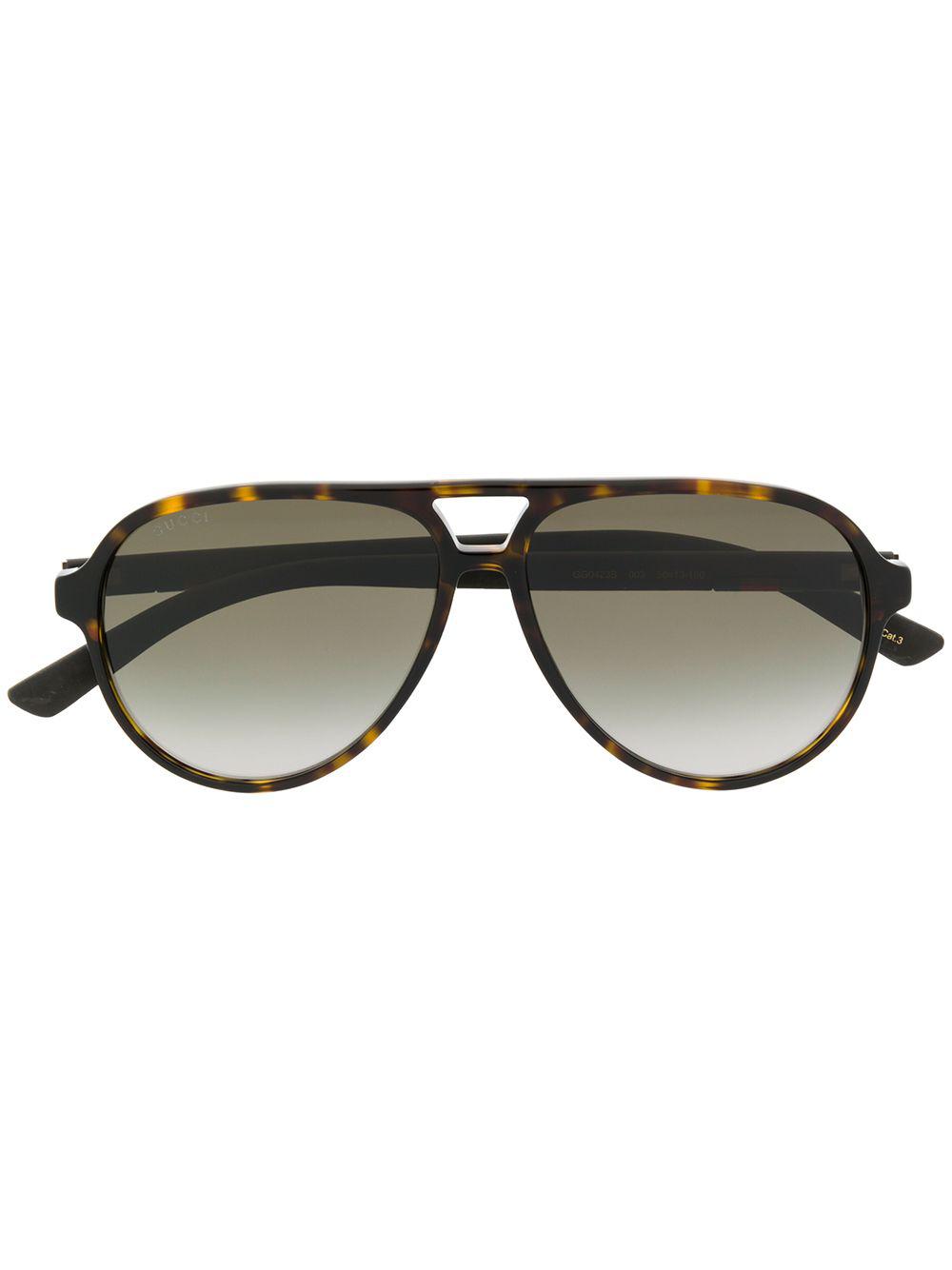 e83d5685d0b Gucci Eyewear Tortoiseshell-Effect Aviator Sunglasses - Brown