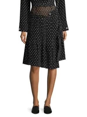 00d9dea46c Sandy Liang Asymmetric Silk Polka-Dot Skirt In Lit