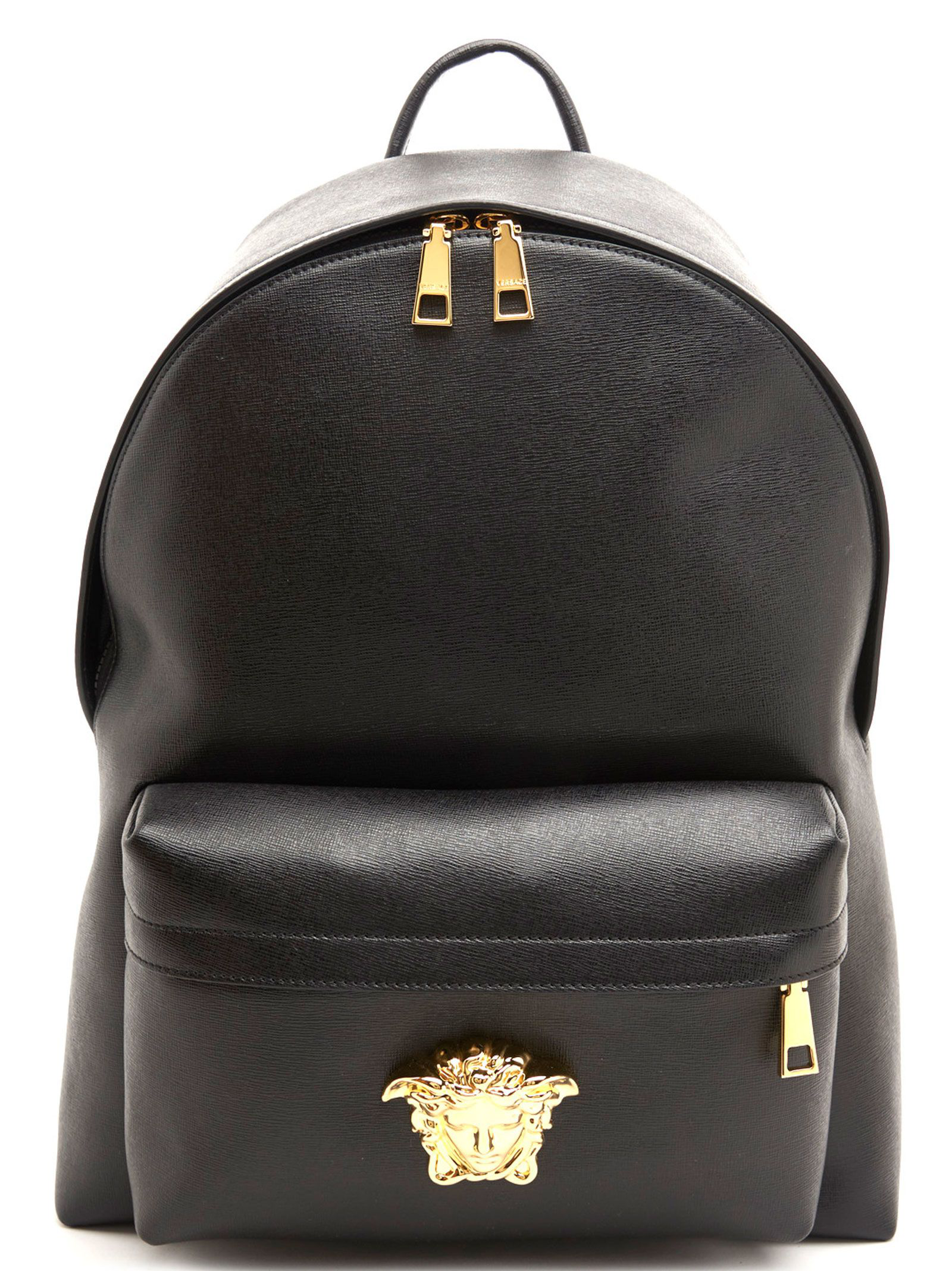 f54f36fc0d Versace Men s Embossed Leather Medusa Backpack In Black