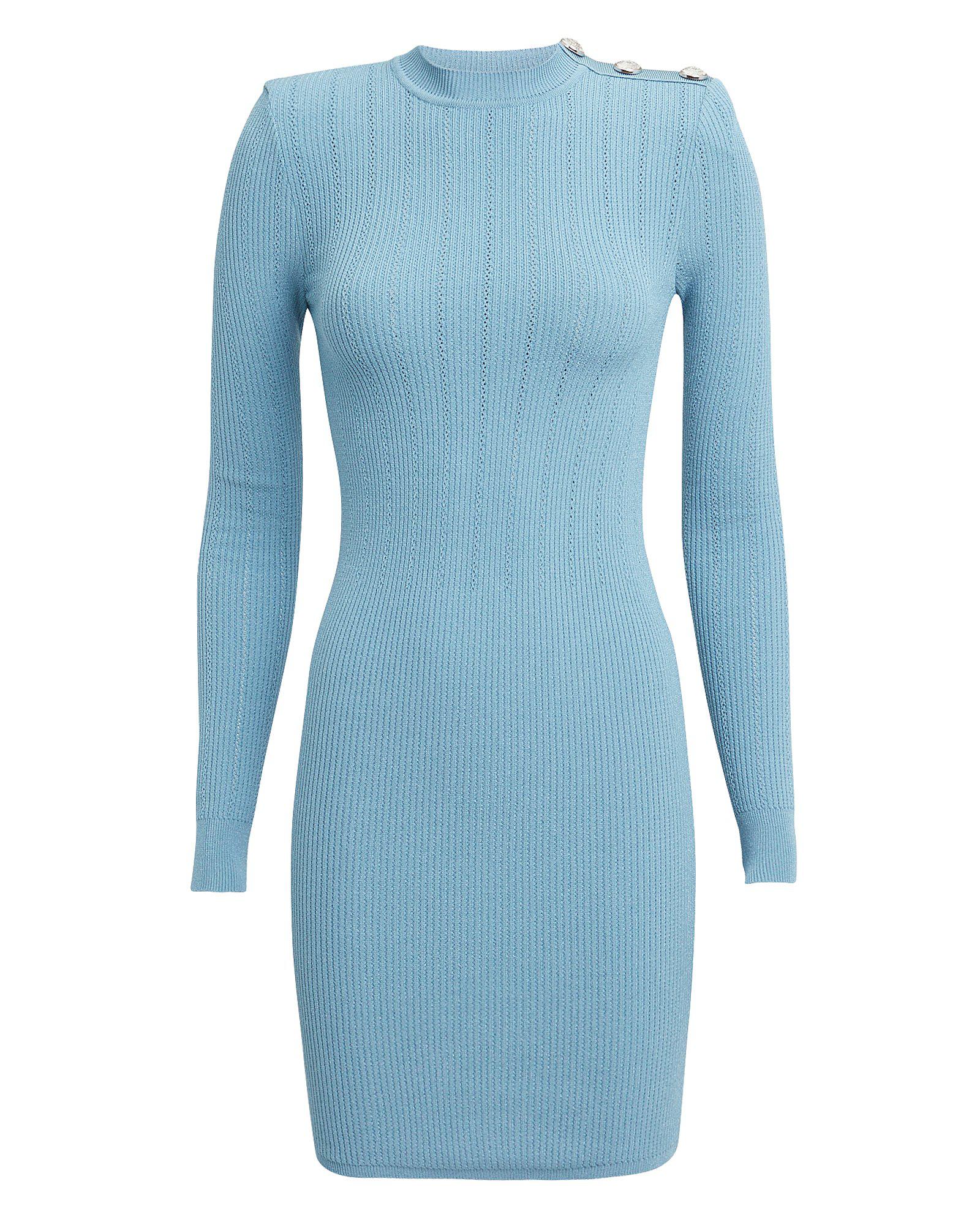 a9332d7c Balmain Mock-Neck Crochet Ribbed-Knit Button-Shoulder Mini Dress In White