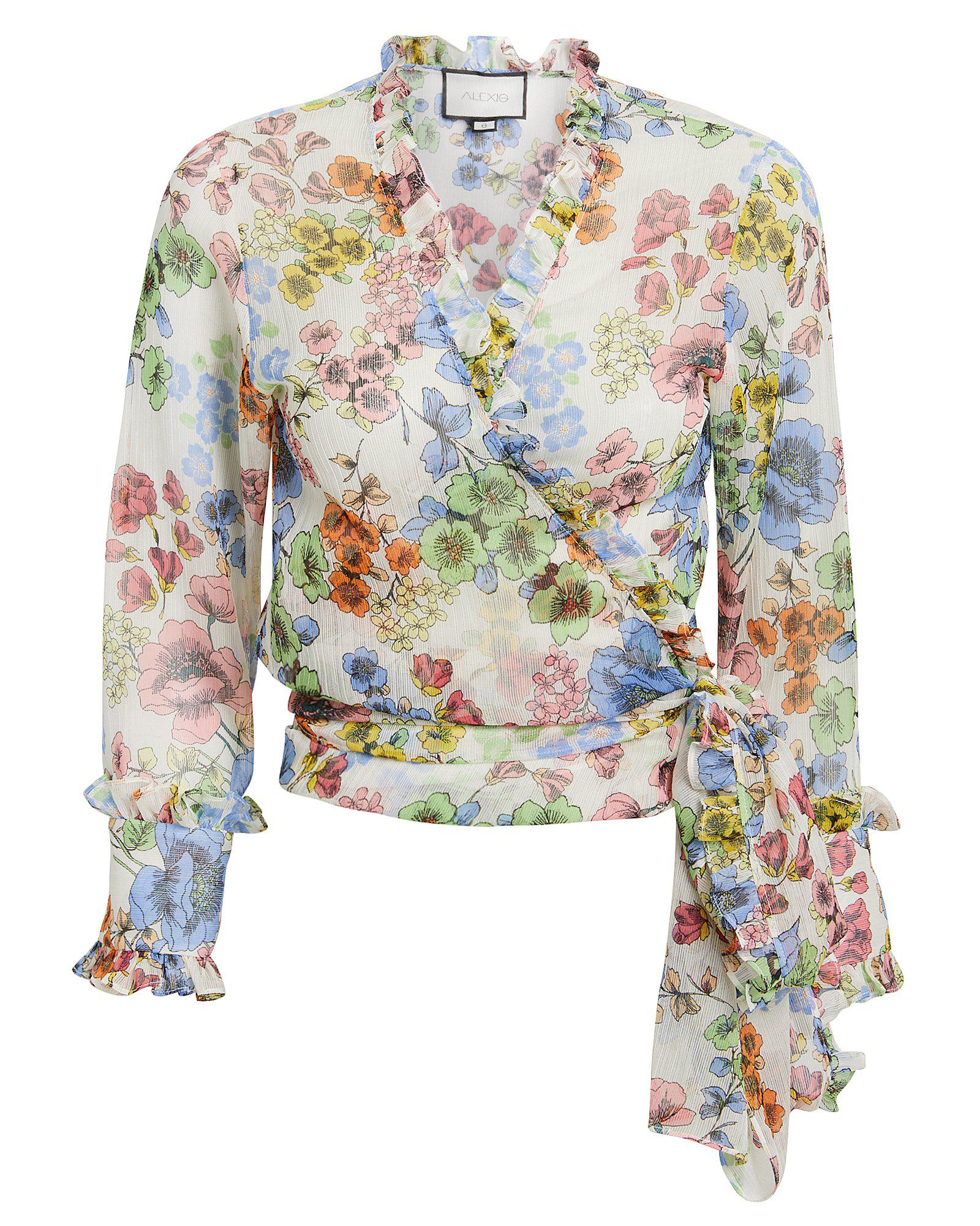 b452da3822504 Alexis Missie Floral Long-Sleeve Wrap Top In Blue