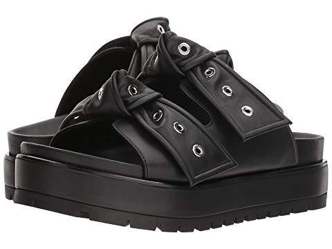 6bb74301044 Alexander Mcqueen Eyelet-Embellished Knotted Leather Platform Slides In  Black