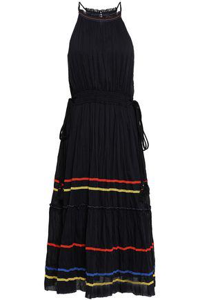 b7e62fcdd4 Joie Danit Embroidered Stripe Cotton   Silk Dress In Black