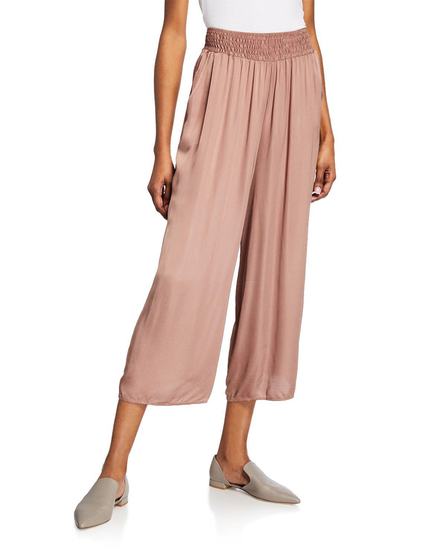 06c64b30125193 Moda Seta Smocked-Waist Crinkle Cropped Pants In Brown | ModeSens