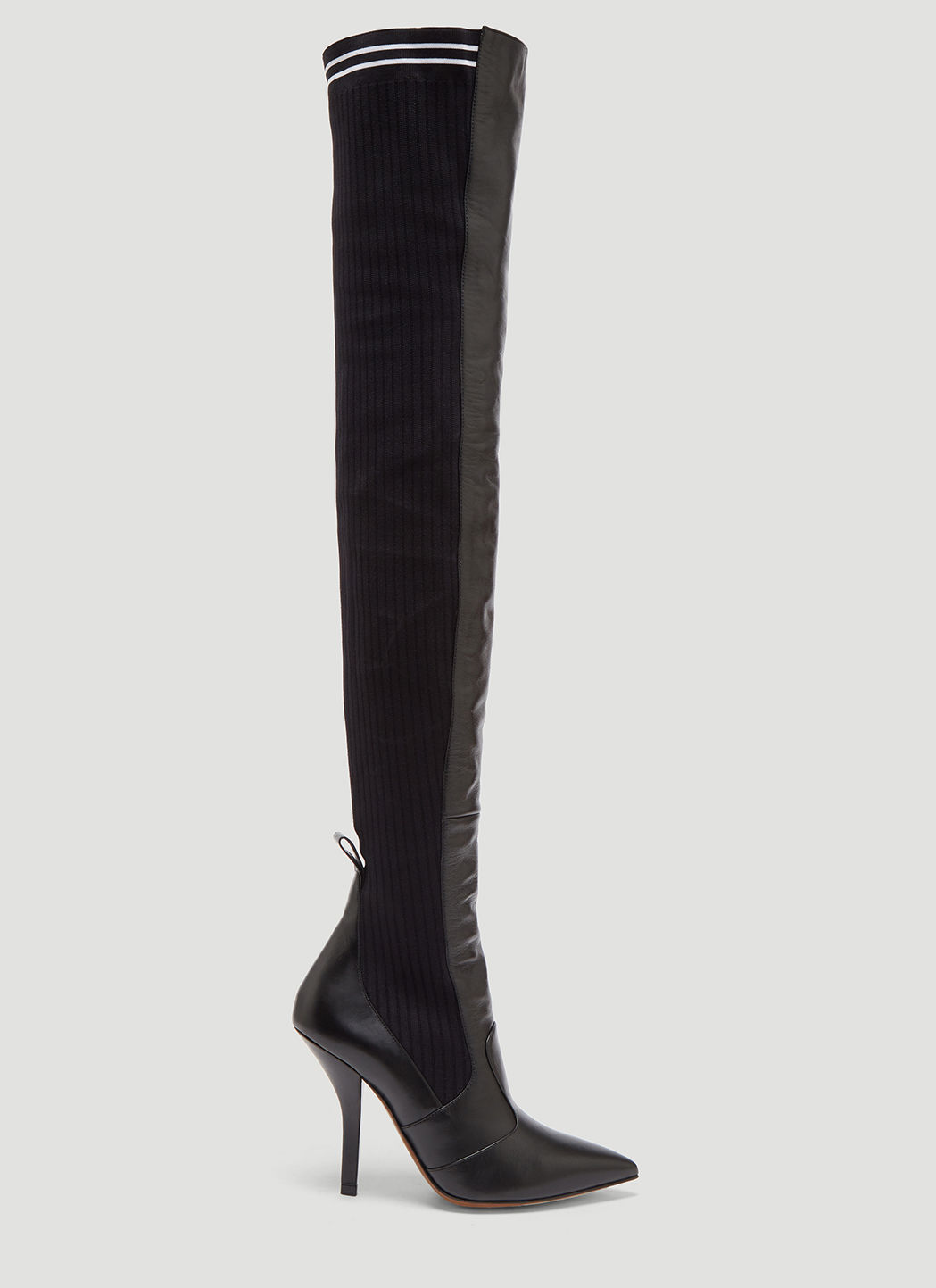 e430c9211cc Fendi Black Leather Thigh-High Sock Boots In Black