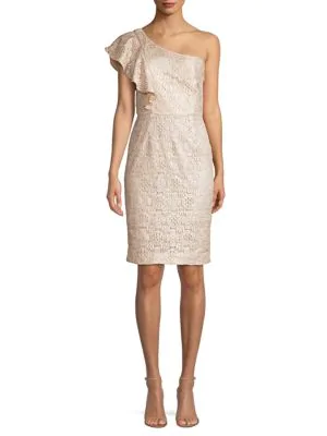 Launch One Shoulder Lace Sheath Dress In Silver