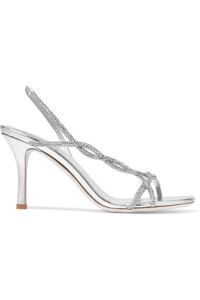 543fef7f0 RenÉ Caovilla Treccia Crystal-Embellished Satin Slingback Sandals In Silver