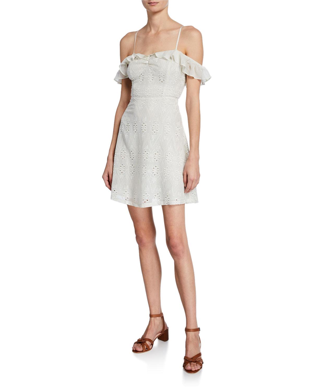 6267835af7 Astr Kristin Sweetheart Cold-Shoulder Eyelet Lace Dress In Cream ...