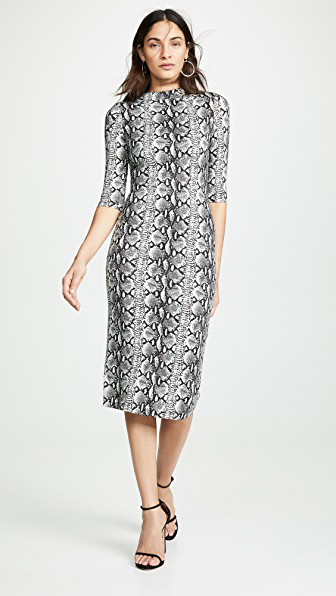 Alice And Olivia Delora Snake-Print Mock-Neck Elbow-Sleeve Fitted Dress In 3f3f4110a