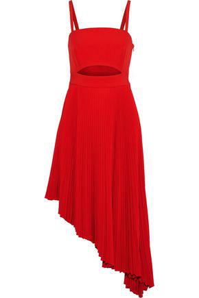 96146772 Milly Woman Eliza Asymmetric Cutout Stretch-Crepe Midi Dress Red