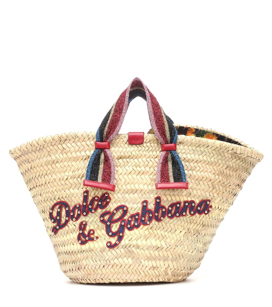 Dolce   Gabbana Kendra Lurex-Trimmed Embellished Straw Tote In Beige ... 3b1ac5facc7