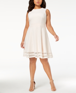 Calvin Klein Plus Size Illusion-Trim Fit & Flare Dress In Cream ...