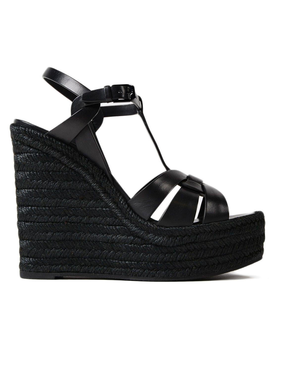 a76ff629d0b7 Saint Laurent Tribute Leather Platform Espadrille Sandal In Black ...